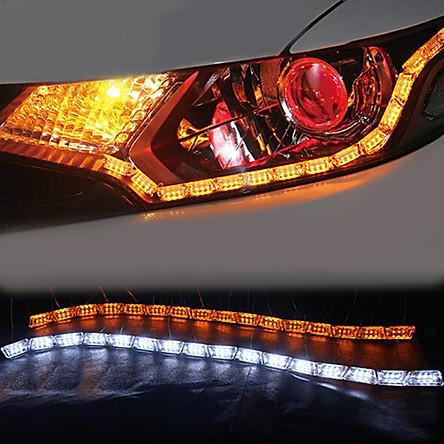 2pcs Flexible LED Strip Light DRL Daytime Running Light Waterproof Sequential Flow Headlight Runners Corner Turn Signal DRL