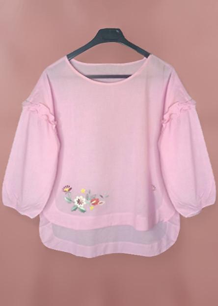 Áo Kiểu Nữ An Thủy Vải Cotton Thoáng Mát  Họa Tiết Thêu Tay Xinh Xắn TL 822
