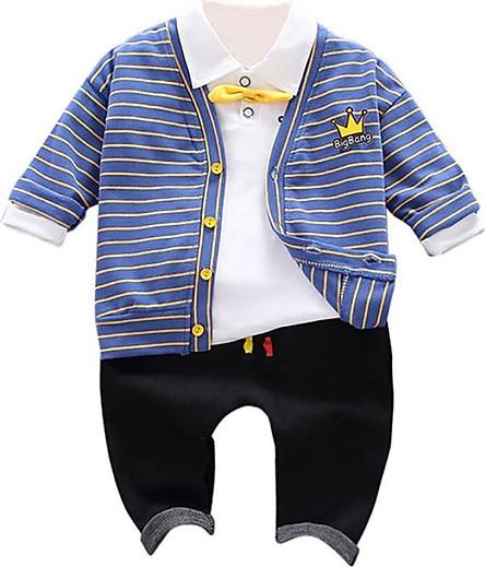 3Pcs Autumn Baby Boy Adorable Crown Print Long Sleeve Shirt Striped Sweatshirt Trousers Pants Clothes