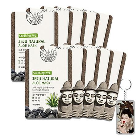 Bộ 10 miếng mặt nạ lô hội Jeju  Aloe Mask Hàn Quốc 10x20ml + Móc khóa