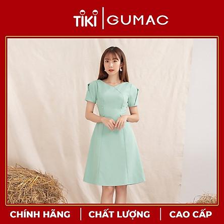 Đầm nữ GUMAC DA1060 thiết kế rã kiểu tay xếp phong cách tiểu thư