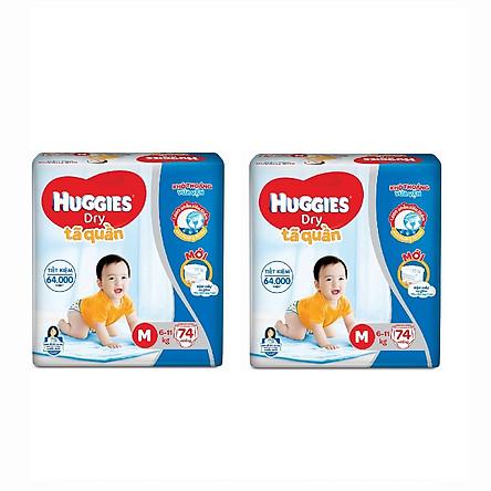 2 Gói Tã Quần Huggies Dry Gói Cực Đại M74 (74 MIếng) - Bao Bì Mới