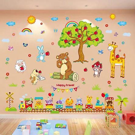 Decal dán tường Vườn thú cây táo và đoàn tàu - HP447