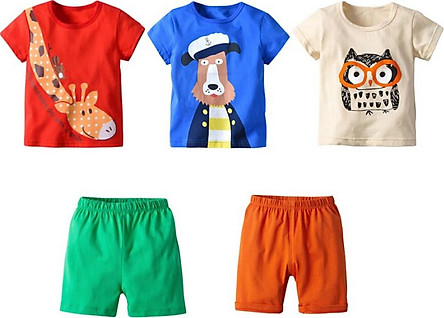 5 Pack Summer Baby Boy Clothes set Cartoon Animal Print Short Sleeve T-Shirt Shorts Casual Outfits Clothes Set
