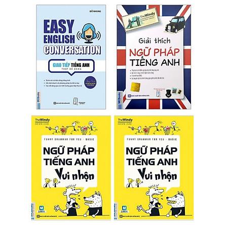 COMBO Easy English Conversation Giao tiếp tiếng Anh thật dễ dàng + Funny Grammar for you Basic Ngữ pháp tiếng Anh vui nhộn + Giải thích ngữ pháp tiếng anh