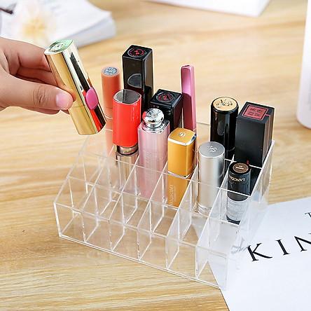 Khay đựng son mica 24 ô trong suốt V.2, Khay đựng mỹ phẩm, son môi, dụng cụ trang điểm 24 ô