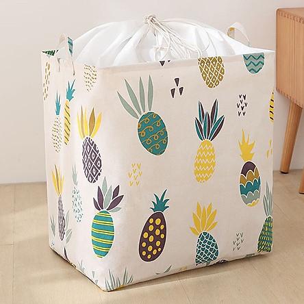 Túi vải đựng chăn mền drap, quần áo có quai xách dạng túi rút dây kiểu dáng sang trọng - Size Đại (40x50x30cm) - TẶNG 1 móc treo