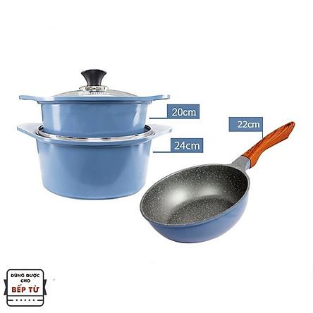 Combo 3 món cao cấp, nồi đúc ceramic đế từ xanh size 20-24cm, chảo đúc sâu lòng vân đá ceramic đê từ size 22cm màu xanh (dùng được tất cả các bếp, kể cả bếp từ) - Hàng chính hãng