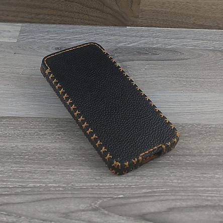 Bao Da Rút dành cho Iphone 11 pro max Dạng Hộp Da Bò Hạt Màu Đen
