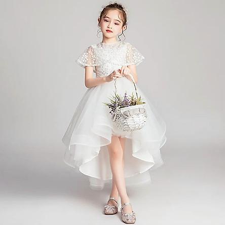 Váy công chúa bé gái trắng choàng vai chân đuôi cá DBG040 cho bé từ 2 đến 12 tuổi nặng từ 12 đến 40kg