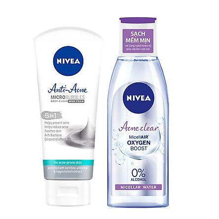 Bộ Đôi Làm Sạch NIVEA Anti Acne Ngừa Mụn (Sửa Rửa Mặt 100G + Nước Tẩy Trang Không Cồn 200ml )