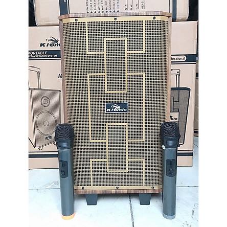 Loa kẹo kéo di động kiomic k89 có bluetooth kèm 2 micro thùng gỗ karaoke