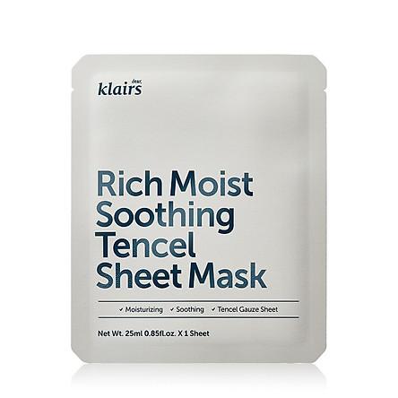 Mặt nạ dưỡng ẩm sâu, làm dịu dành cho da nhạy cảm, kích ứng Klairs Rich Moist Soothing Tencel Sheet Mask 25ml