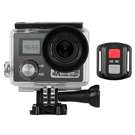 4K Action Camera 2 + 0.96 inches Dual LCD Screen 30m Waterproof 30FPS 170° Ultra-wide Angle Lens WiFi Sharing 64GB