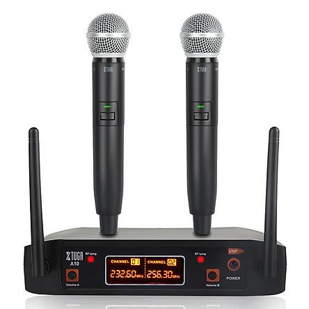 Xtuga âm thanh A-10 2 kênh Hệ thống micro không dây hệ thống micro Karaoke 2 mic sử dụng cho gia đình bên