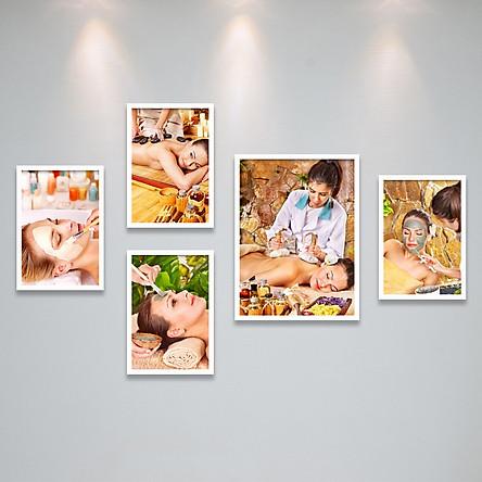 Bộ Ảnh Treo Tường Trang Trí Tiệm Spa, Cửa Hàng Chắm Sóc Da, Làm Đẹp Tặng Kèm bộ ảnh như hình mẫu, đinh treo tranh và sơ đồ treo PGC293