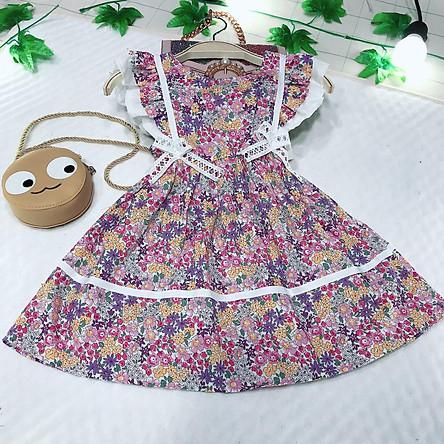 Đầm váy công chúa bé gái tay cánh tiên có nơ xinh chất lụa hàn cho bé từ 10kg đến 22kg