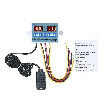 Bộ Điều Khiển Nhiệt Độ & Độ Ẩm Kỹ Thuật Số ZFX-ST3022 Với 2 Màn Hình LED Cho Nhà Kính (220V 10A)