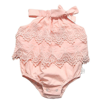 Baby Onesies Ruffle Sleeve Infant Romper Baby Rompers Children Summer Girls Triangle Lace Solid Color Jumpsuit Romper