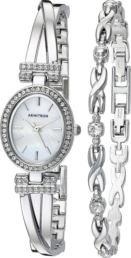 Armitron Women's 75/5381MPSVST Swarovski Crystal Accented Silver-Tone Bangle Watch and Bracelet Set