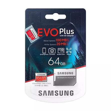 Thẻ Nhớ Micro SDXC Samsung Evo Plus 64GB 100MB/s ( New 2020) - Hàng nhập khẩu