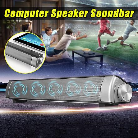USB Speaker Subwoofer TV Sound Bar Bluetooth Wireless SUPER BASS Audio Sound Bar 3.5mm Mic Port For PC Computer Home Theater