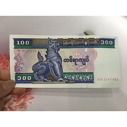 Tiền 100 Kyats của Myanmar hình kỳ lân, tặng phơi nylon bảo quản tiền