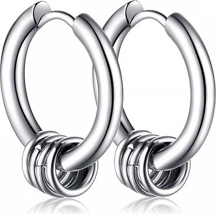 Bông tai nam khoen tròn 12mm màu bạc