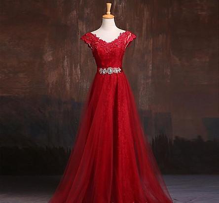 Váy Dạ Hội Ngắn Tay Cổ Chữ V Sang Trọng