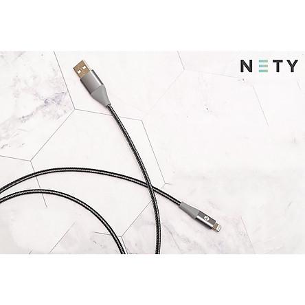 Dây cáp sạc iPhone NETY 120cm chuẩn MFi, cổng Lightning to USB-A, dây cáp bện sợi nylon tốc độ cao USB tương thích với iPhone SE 2020/ iPhone 11 Pro Max / 11/11 Pro /XR /Xs Max /Xs /X /8 Plus /8 /7 Plus /7 /SE /6s Plus /6s /6 Plus (bạc) – Hàng chính hãng