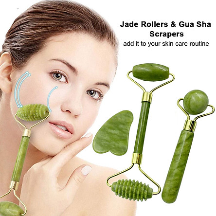 Jade Rollers & Gua Sha Scrapers Jade Stone Set for Facial Skin Care Anti-aging Face Eye Neck Beauty Roller Facial