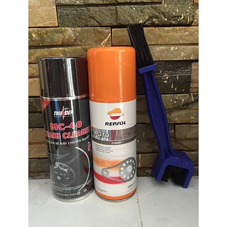 Combo 3 sản phẩm bảo dưỡng sên Repsol Chain Lube 400ml, Thunder rửa sên MC-40 400ml và bàn chải vệ sinh sên