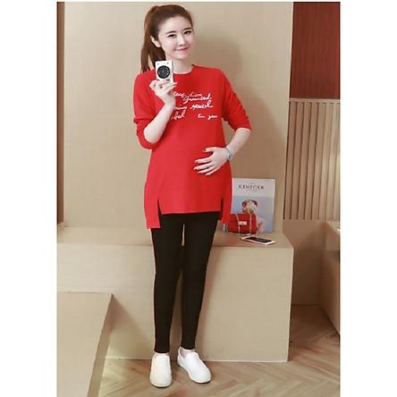 Bộ đồ bầu màu đỏ sành điệu xinh xắn cho mẹ bầu