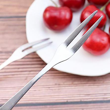 Bộ 2 Dĩa Inox mini không gỉ ăn hoa quả trái cây tráng miệng hay dùng ăn rau củ quả rất tiện lợi - Nĩa Inox Mini