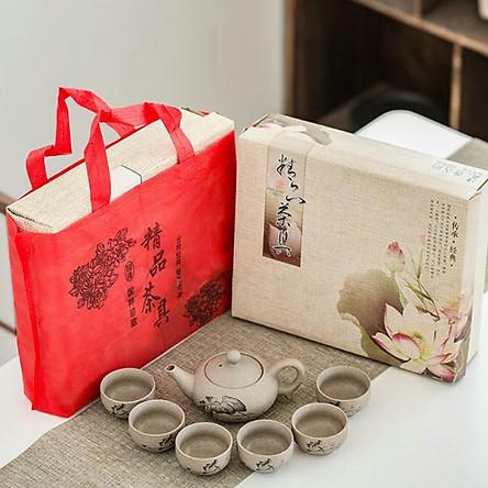 Bộ bình trà sen đá chất liệu đất cao lanh và bột đá GFL0005