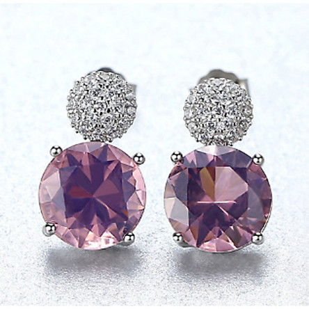 Bông tai bạc nữ khuyên tai bạc đá cao cấp hình tròn sát tai