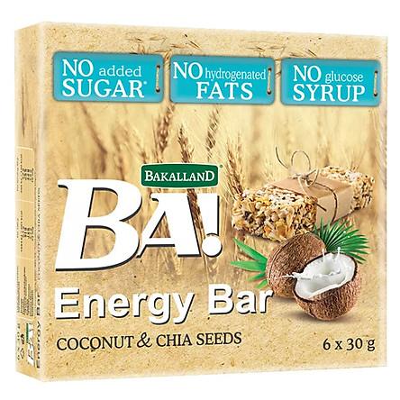 Combo 2 hộp Thanh ngũ cốc Bakalland Energy Bar Dừa & hạt Chia ăn liền hộp 180gr (6 thanh)