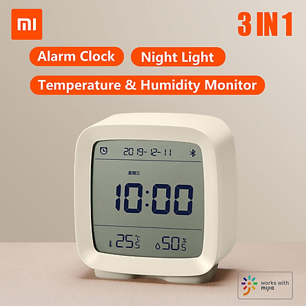 Đồng hồ báo thức thông minh Xiaomi Qingping BT Alarm Clock Temperature Humidity Monitoring Night Light 3 in 1 Multifunctional Clock Work With Mijia