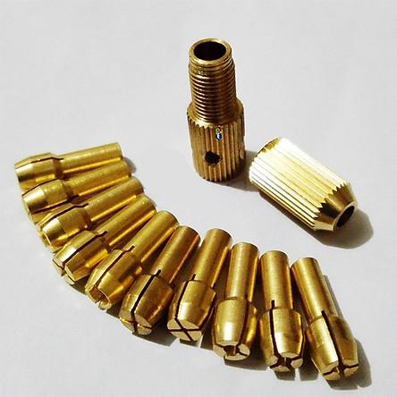 Bộ 10 đầu kẹp chế máy khoan mini cầm tay từ Motor Trục 3.17mm