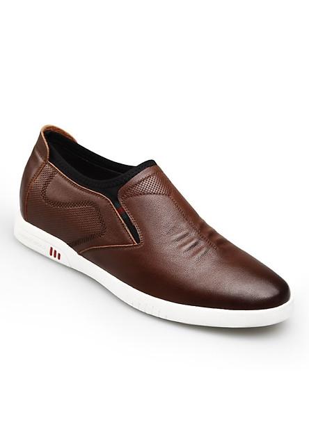 Giày tăng chiều cao nam 7cm dáng mọi lười GOG GCM91836 màu nâu