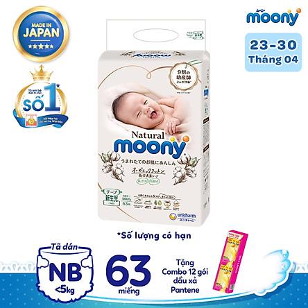 Tã dán cao cấp Moony Natural Newborn 63 miếng nhập khẩu Nhật Bản