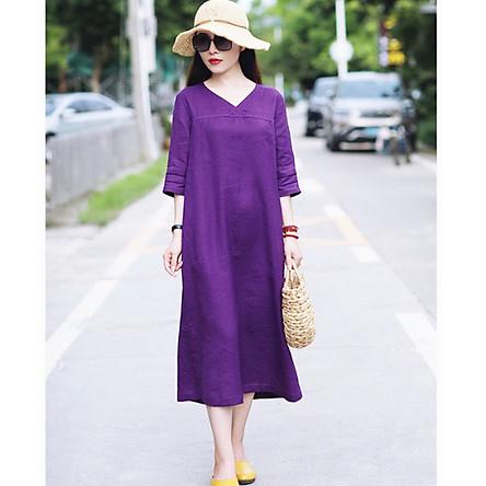 Đầm suông linen tay lỡ cổ tim LAHstore, chất vải linen tự nhiên mềm mát, thời trang xuân hè 2021