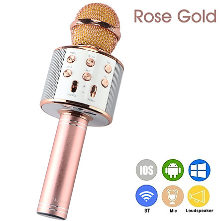 WS-858 Portable Wireless Karaoke Microphone Handheld Cellphone Karaoke Player Built-in BT HIFI Speaker Selfie 3-in-1