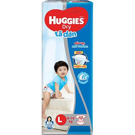 Tã Dán Huggies Dry Gói Đại L42 (42 Miếng) - Bao Bì Mới