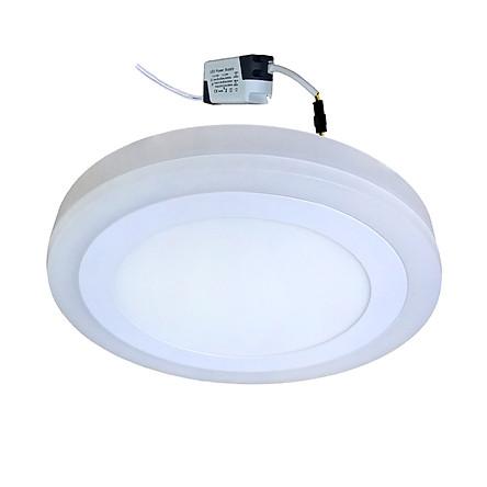 Đèn Led ốp trần 24w ( 18w +6w) tròn nổi 2 màu 3 chế độ sáng trắng+viền sáng màu Posson LP-Ro18-6B-G