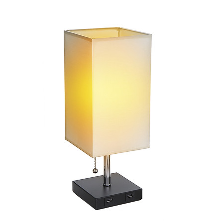 Tomshine Bedside Table Light Pulling Switch Desk Nightstand Lamp with 2 USB Charge Port Square Fabric Shade for Bedroom