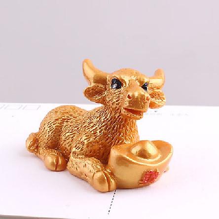 Trâu Như Ý trang trí vàng gốm LDK.ai Phát Tài Phát Lộc 2021 - Hàng Chính Hãng