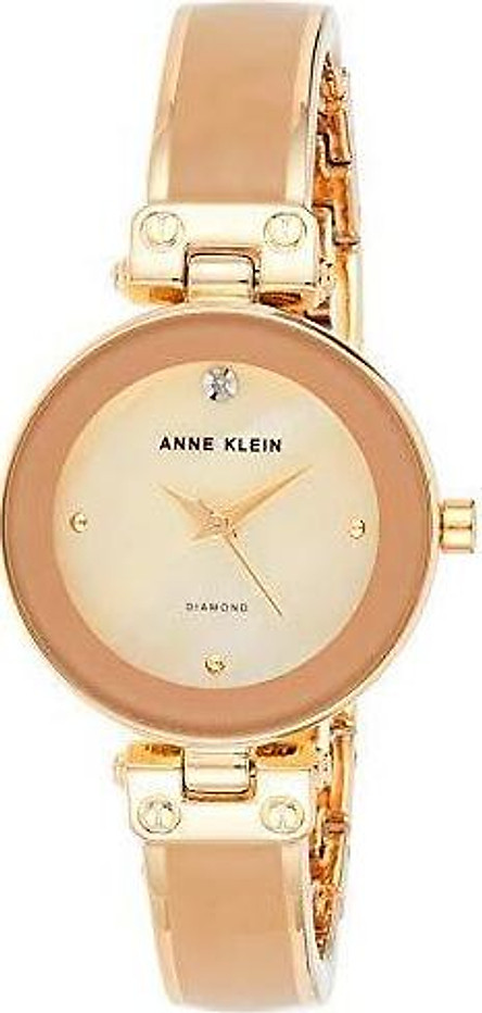 Đồng hồ nữ Anne Klein Women's Diamond-Accented Bangle Watch - Black/Gold