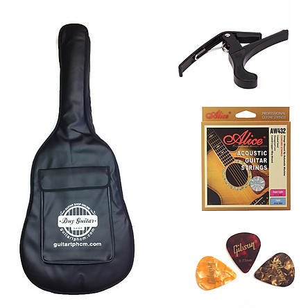 Bộ phụ kiện đàn guitar acoustic bao da 3 lớp - Capo - 3 phím - Dây alice AW432