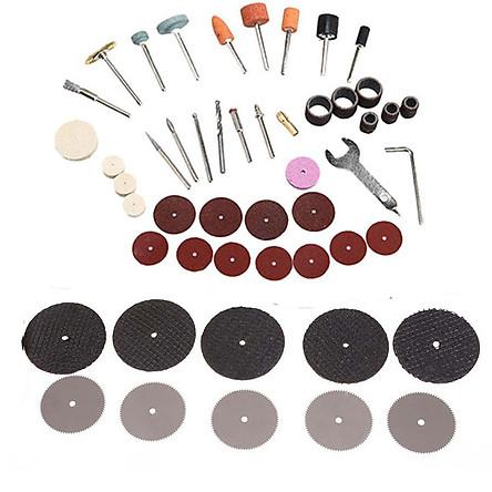 Combo đĩa cắt mini đĩa cắt răng và bộ phụ kiện máy khoan mài kèm 1 đầu đồng kẹp mũi khoan 3mm khắc như hình
